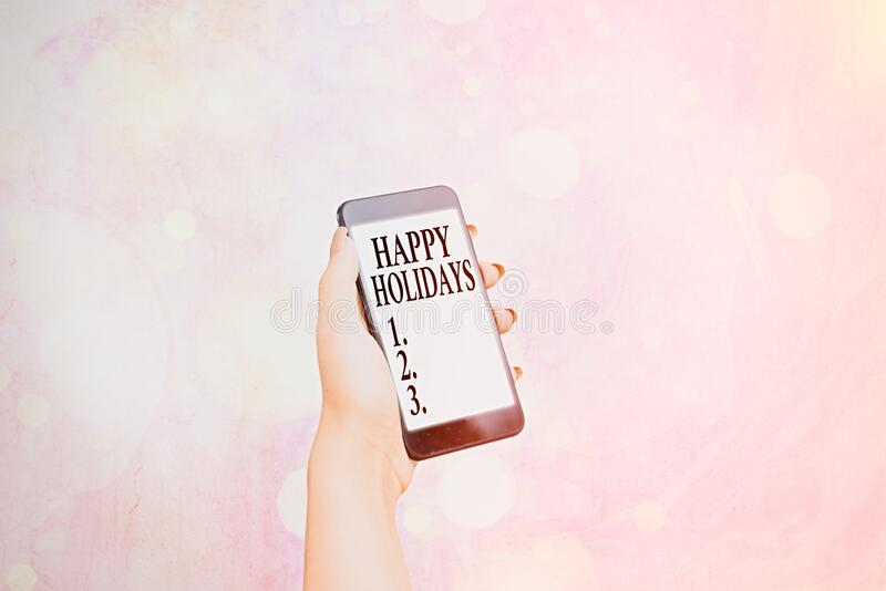 Writing note showing Happy Holidays. Business photo showcasing Made a short journey by a group of showing for pleasure royalty free stock images