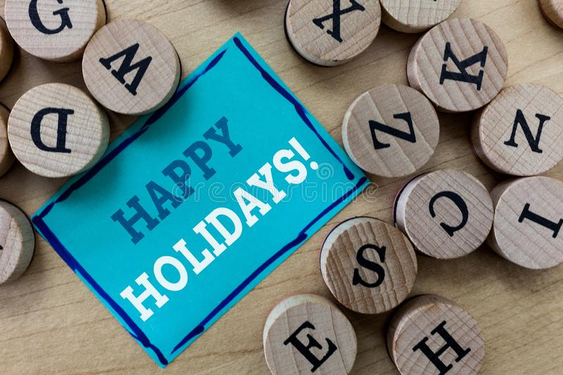 Writing note showing Happy Holidays. Business photo showcasing Made a short journey by a group of people for pleasure.  royalty free stock photography