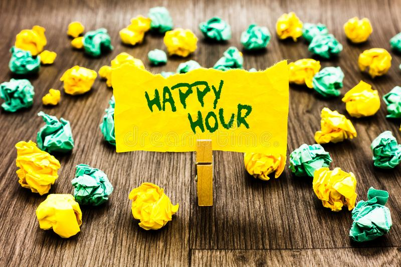 Writing note showing Happy Hour. Business photo showcasing Spending time for activities that makes you relax for a while Clothespi. N holding yellow note paper vector illustration