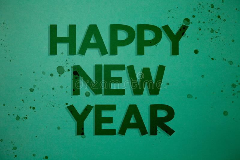 Writing note showing Happy New Year. Business photo showcasing congratulations Merry Xmas everyone beginning of January Ideas mes. Sages green background stock photos