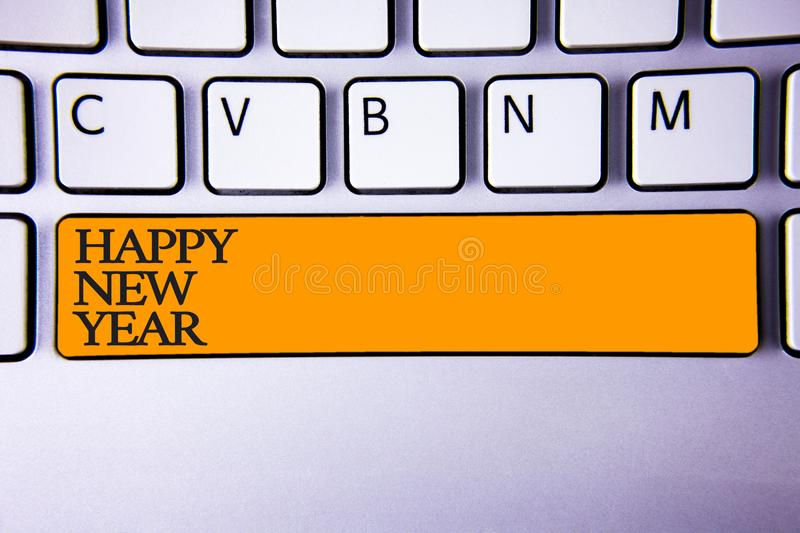 Writing note showing Happy New Year. Business photo showcasing congratulations Merry Xmas everyone beginning of January Keyboard. Key Intention create computer royalty free stock images