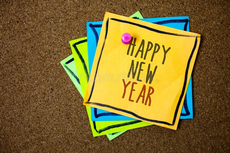 Writing note showing Happy New Year. Business photo showcasing congratulations Merry Xmas everyone beginning of January Papers be. Autiful colours messages stock images