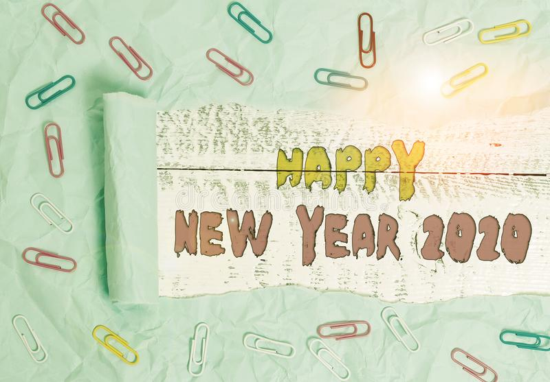Writing note showing Happy New Year 2020. Business photo showcasing Greeting Celebrating Holiday Fresh Start Best wishes. Writing note showing Happy New Year royalty free stock photos