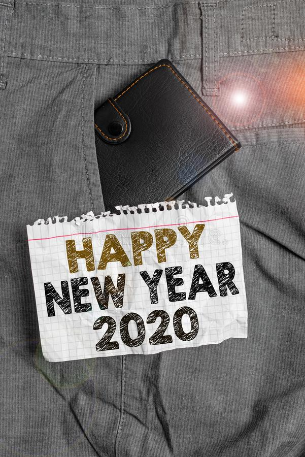 Writing note showing Happy New Year 2020. Business photo showcasing Greeting Celebrating Holiday Fresh Start Best wishes. Writing note showing Happy New Year stock photos