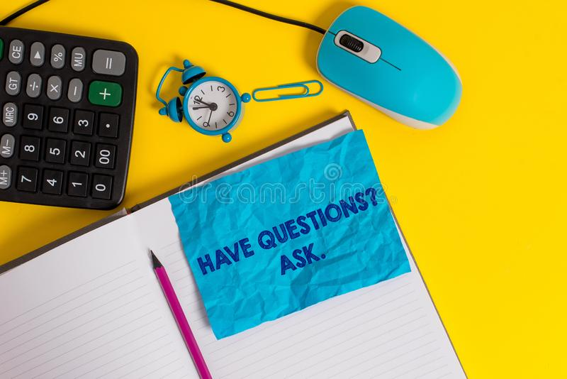 Writing note showing Have Questionsquestion Ask. Business photo showcasing something that you say or write to ask a. Writing note showing Have Questionsquestion stock image