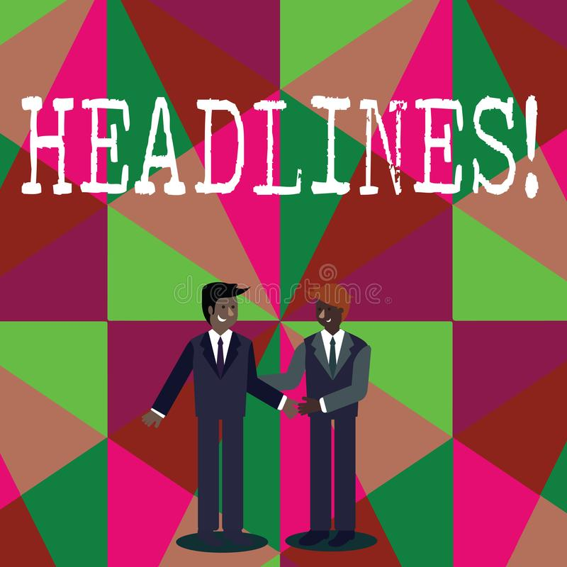 Writing note showing Headlines. Business photo showcasing Heading at the top of an article in newspaper Businessmen. Writing note showing Headlines. Business vector illustration