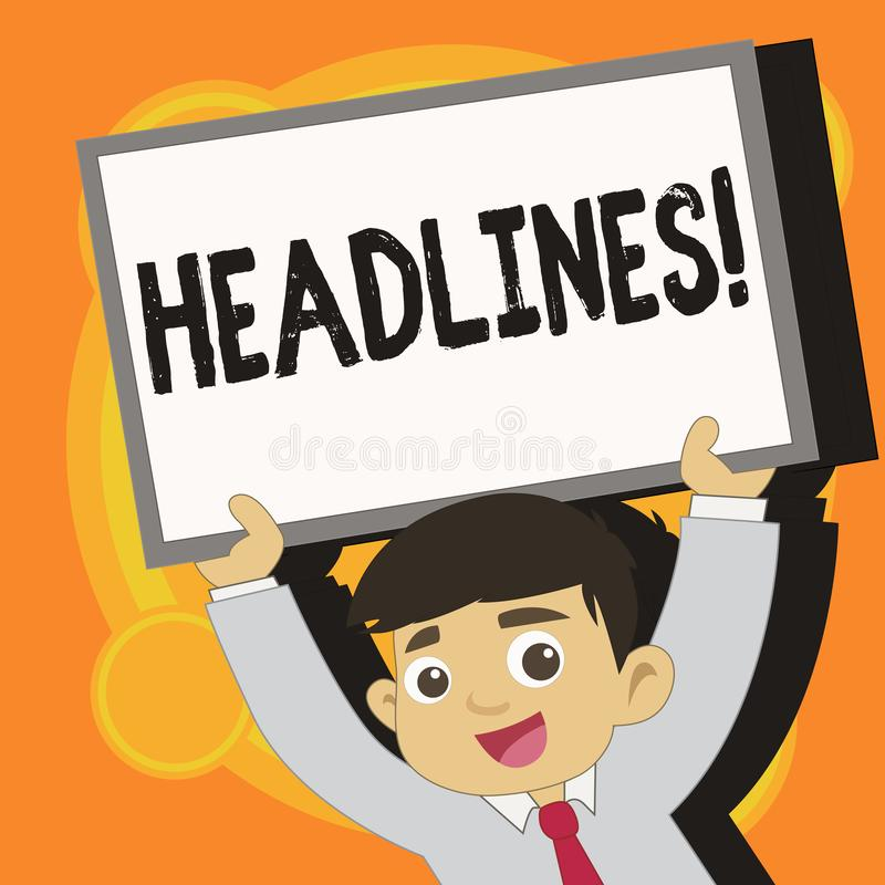 Writing note showing Headlines. Business photo showcasing Heading at the top of an article in newspaper Young Student. Writing note showing Headlines. Business royalty free illustration