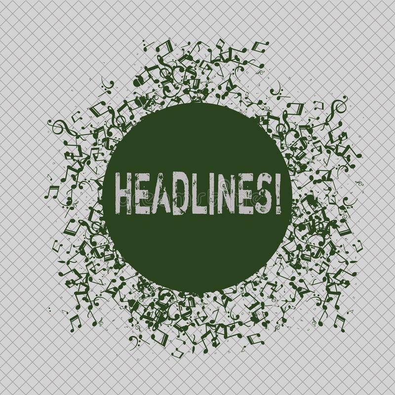 Writing note showing Headlines. Business photo showcasing Heading at the top of an article in newspaper Disarrayed. Writing note showing Headlines. Business stock illustration