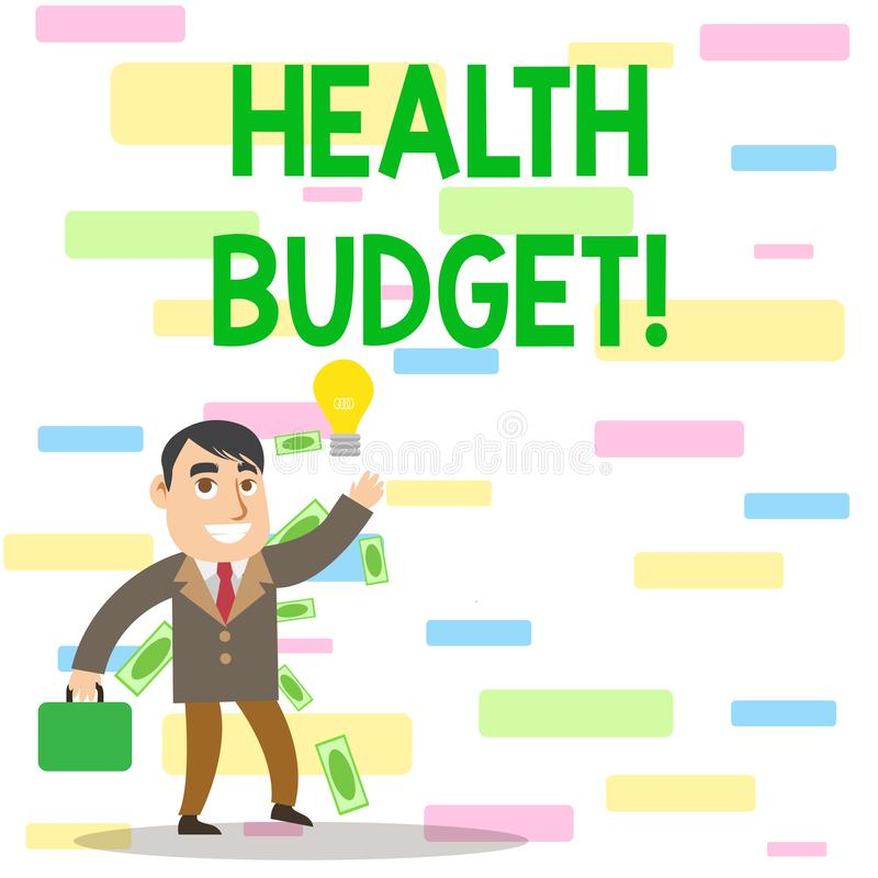 Writing note showing Health Budget. Business photo showcasing amount of money to support your health and wellbeing needs. Writing note showing Health Budget vector illustration