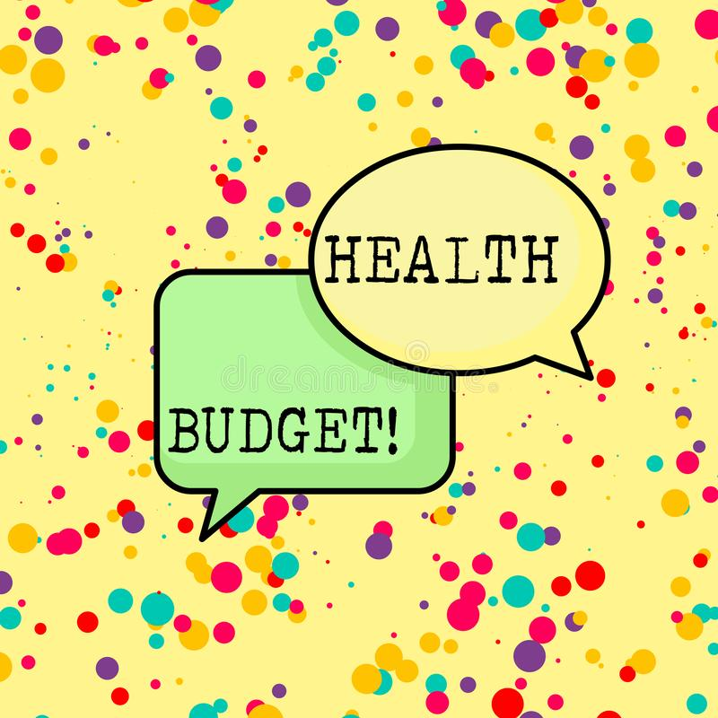 Writing note showing Health Budget. Business photo showcasing amount of money to support your health and wellbeing needs. Writing note showing Health Budget royalty free illustration