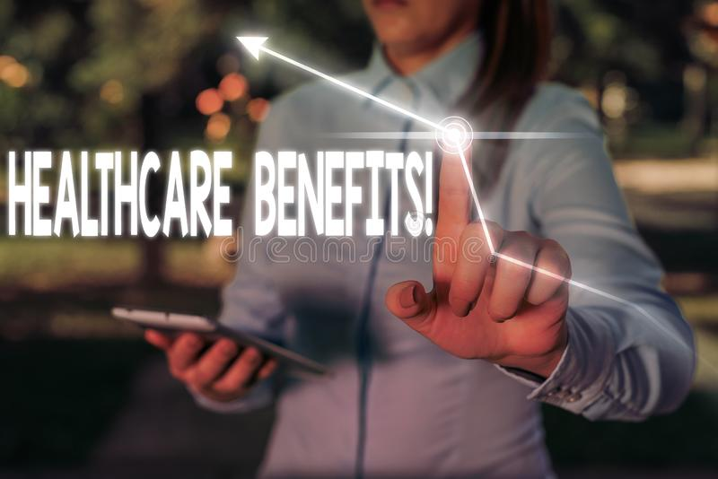 Writing note showing Healthcare Benefits. Business photo showcasing monthly fair market valueprovided to Employee. Writing note showing Healthcare Benefits stock images