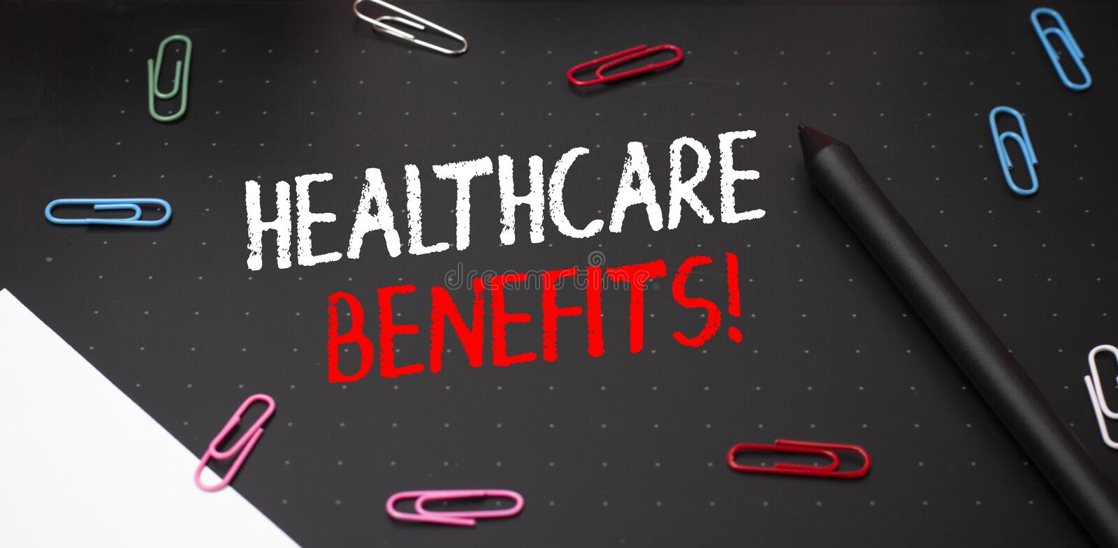 Writing note showing Healthcare Benefits. Business photo showcasing monthly fair market valueprovided to Employee. Writing note showing Healthcare Benefits stock photography