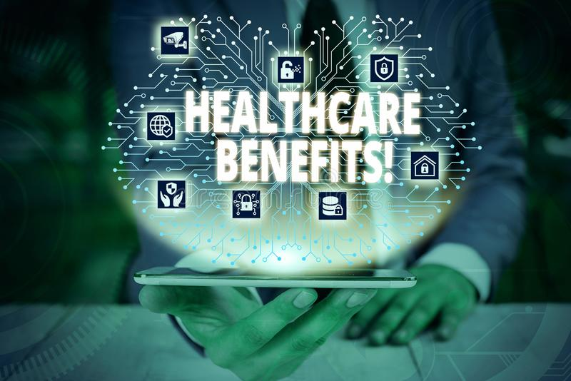 Writing note showing Healthcare Benefits. Business photo showcasing monthly fair market valueprovided to Employee. Writing note showing Healthcare Benefits royalty free stock photo