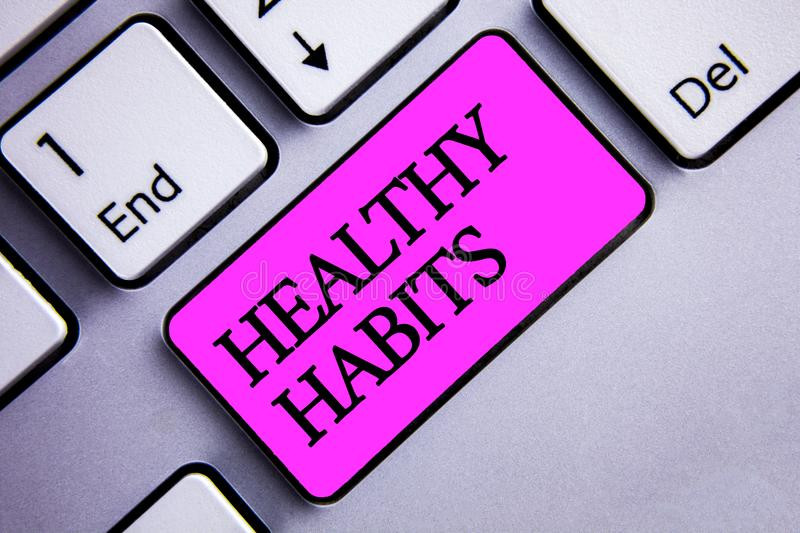 Writing note showing Healthy Habits. Business photo showcasing Good nutrition diet take care of oneself Weight Control Text two w royalty free illustration
