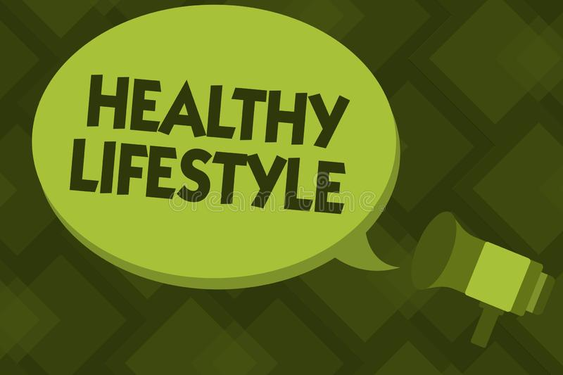 Writing note showing Healthy Lifestyle. Business photo showcasing Live Healthy Engage in physical activity and exercise.  royalty free illustration