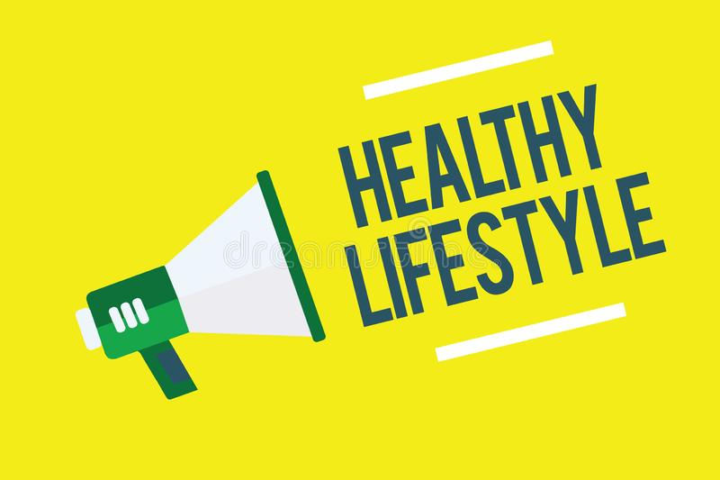 Writing note showing Healthy Lifestyle. Business photo showcasing Live Healthy Engage in physical activity and exercise. Megaphone yellow background important vector illustration