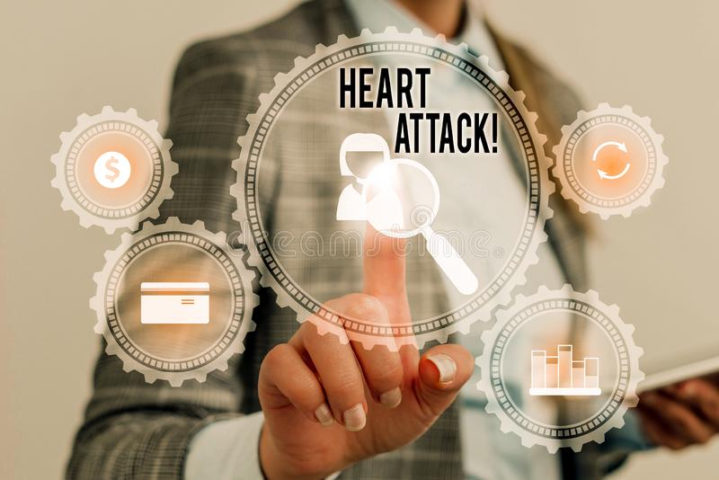Writing note showing Heart Attack. Business photo showcasing sudden occurrence of coronary thrombosis resulting in death. Writing note showing Heart Attack royalty free illustration