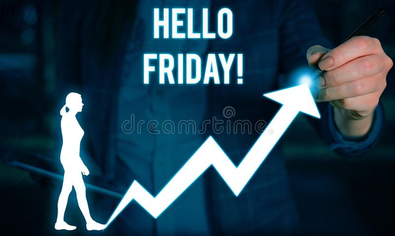 Writing note showing Hello Friday. Business photo showcasing you say this for wishing and hoping another good lovely. Writing note showing Hello Friday. Business stock image