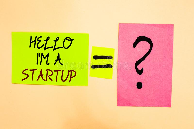 Writing note showing Hello I am A Startup. Business photo showcasing Entrepreneur starting business Presenting New project Written. On green sticky note on stock photos