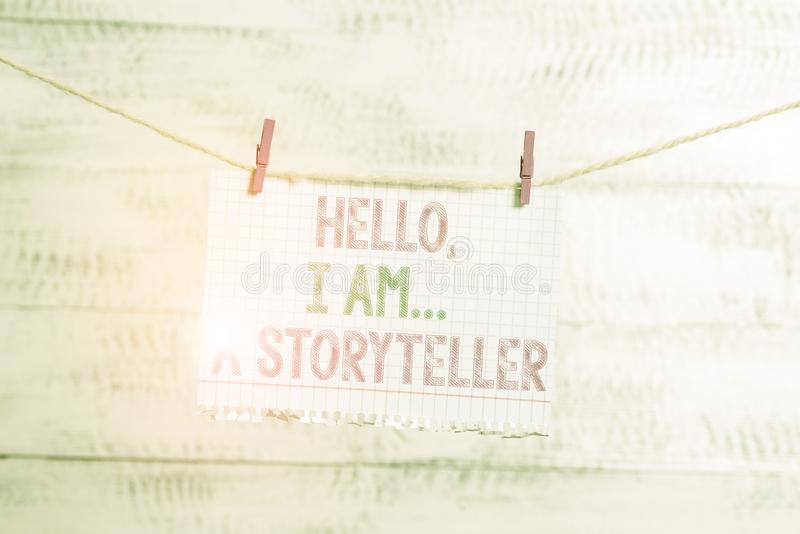 Writing note showing Hello I Am A Storyteller. Business photo showcasing introducing yourself as novels article writer. Writing note showing Hello I Am A stock photos