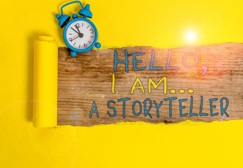 Writing note showing Hello I Am A Storyteller. Business photo showcasing introducing yourself as novels article writer. Writing note showing Hello I Am A royalty free stock images