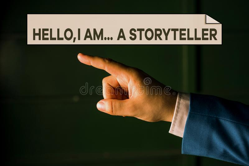 Writing note showing Hello I Am A Storyteller. Business photo showcasing introducing yourself as novels article writer. Writing note showing Hello I Am A royalty free stock photo