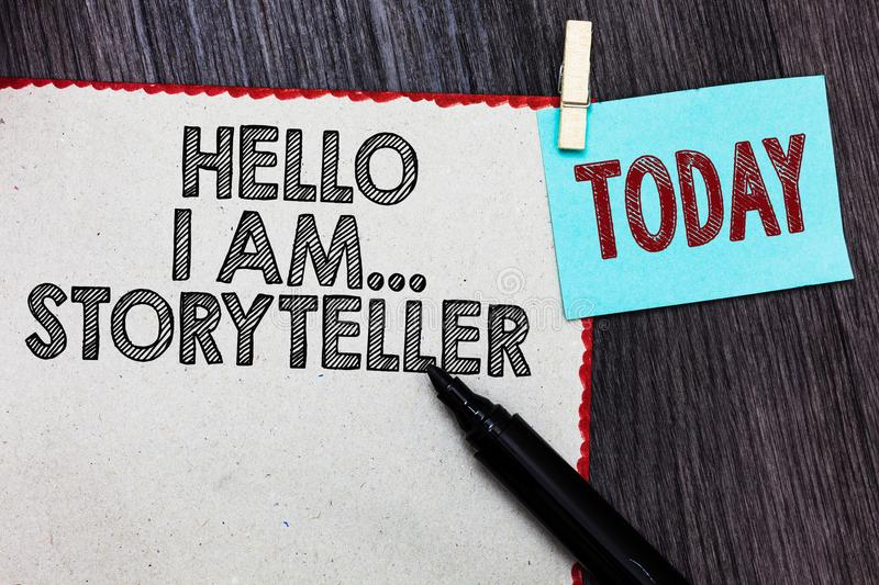 Writing note showing Hello I Am... Storyteller. Business photo showcasing introducing yourself as novels article writer White page. Red borders marker stock photos