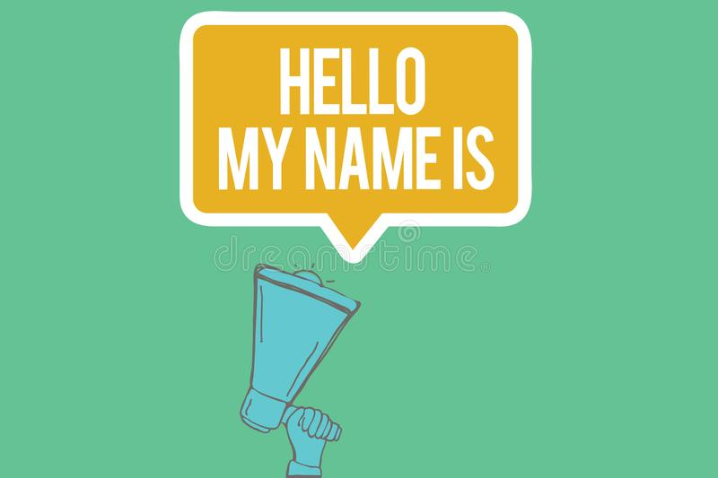 Writing note showing Hello My Name Is. Business photo showcasing introducing yourself to new people workers a. S Presentation stock illustration