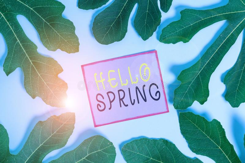Writing note showing Hello Spring. Business photo showcasing welcoming the season of the blossoming of flowers End of royalty free stock images