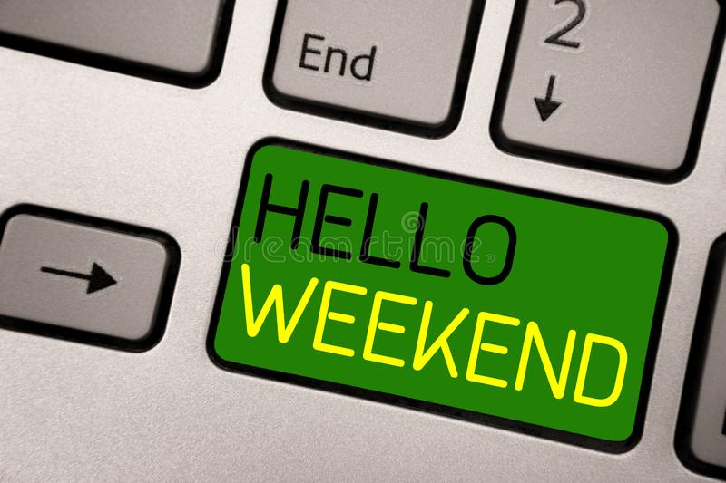 Writing note showing Hello Weekend. Business photo showcasing Getaway Adventure Friday Positivity Relaxation Invitation royalty free stock photo