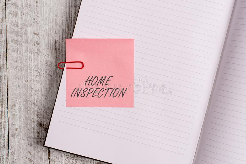 Writing note showing Home Inspection. Business photo showcasing Examination of the condition of a home related property. Writing note showing Home Inspection royalty free stock photography