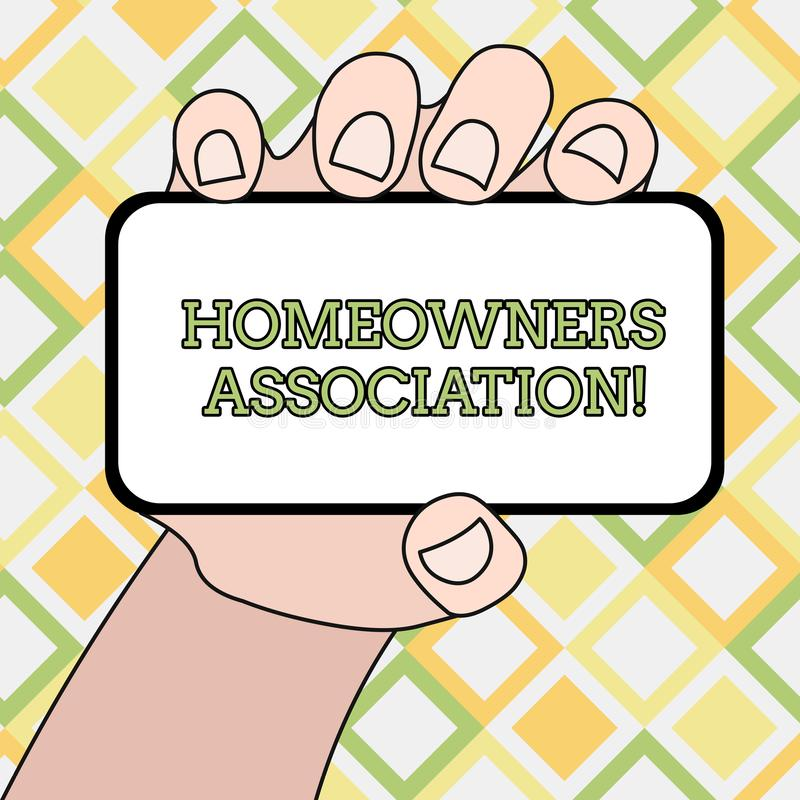 Writing note showing Homeowners Association. Business photo showcasing Organization with fee for upkeeps of Gated. Writing note showing Homeowners Association royalty free illustration