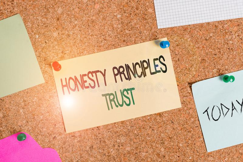 Writing note showing Honesty Principles Trust. Business photo showcasing believing someone words for granted Telling. Writing note showing Honesty Principles stock image