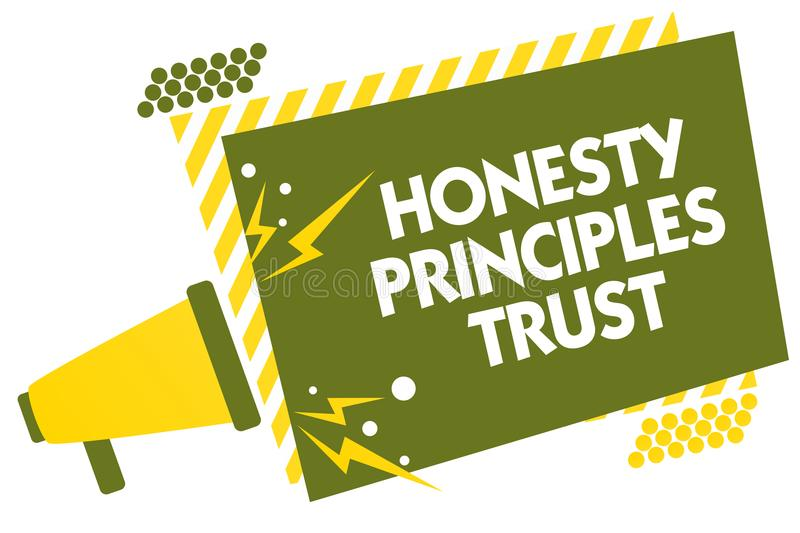 Writing note showing Honesty Principles Trust. Business photo showcasing believing someone words for granted Telling truth Megapho. Ne loudspeaker yellow striped stock illustration