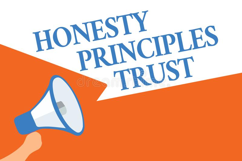 Writing note showing Honesty Principles Trust. Business photo showcasing believing someone words for granted Telling truth Megapho. Ne loudspeaker speech bubbles vector illustration