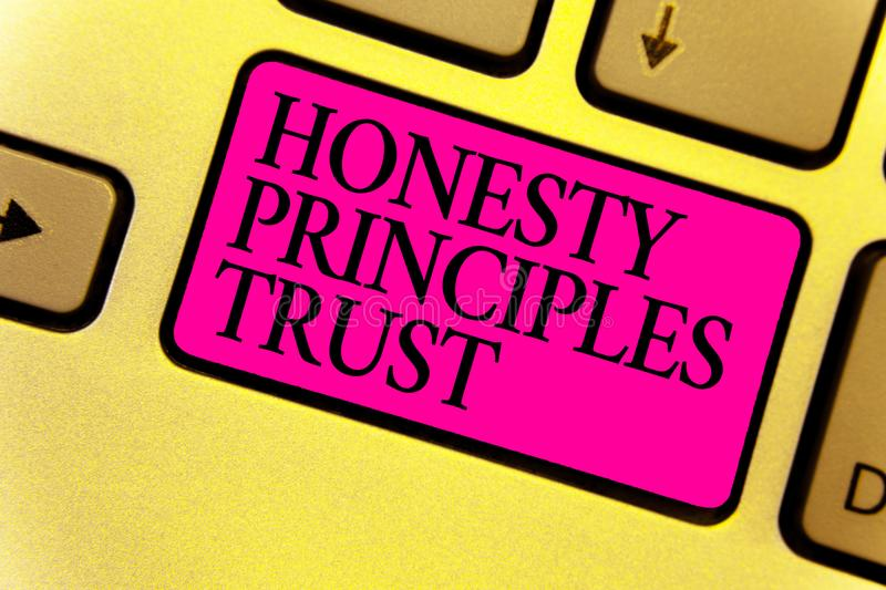 Writing note showing Honesty Principles Trust. Business photo showcasing believing someone words for granted Telling truth Keyboar. D pink key Intention computer stock illustration