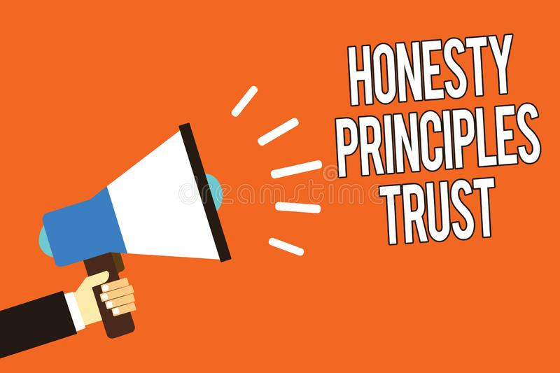 Writing note showing Honesty Principles Trust. Business photo showcasing believing someone words for granted Telling. Truth Man holding megaphone loudspeaker vector illustration