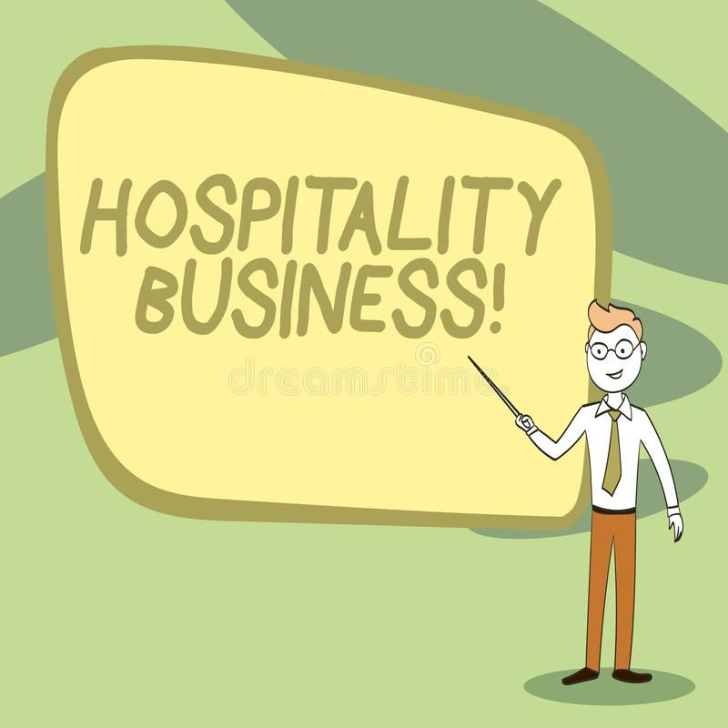 Writing note showing Hospitality Business. Business photo showcasing broad category of fields within service industry. Writing note showing Hospitality Business vector illustration