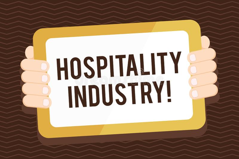 Writing note showing Hospitality Industry. Business photo showcasing focus on the hotel and accommodation industry Color. Writing note showing Hospitality royalty free illustration