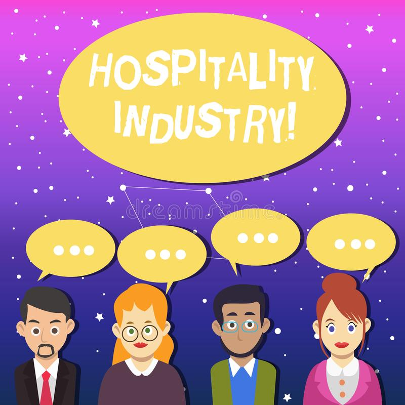 Writing note showing Hospitality Industry. Business photo showcasing focus on the hotel and accommodation industry Group. Writing note showing Hospitality stock illustration