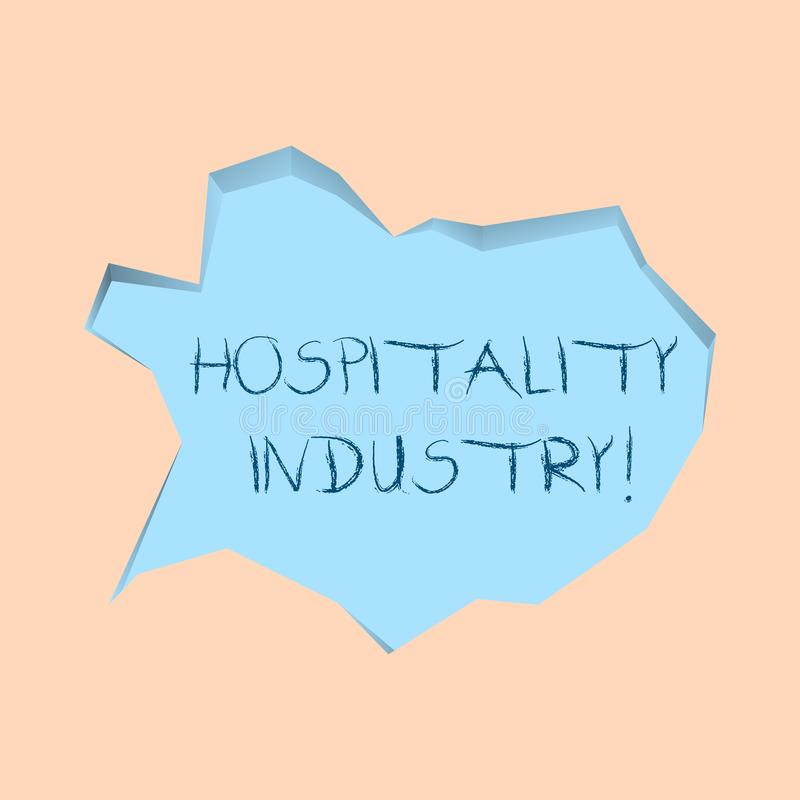 Writing note showing Hospitality Industry. Business photo showcasing focus on the hotel and accommodation industry Pale. Writing note showing Hospitality vector illustration