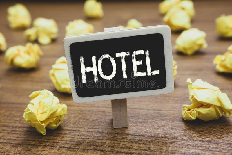 Writing note showing Hotel. Business photo showcasing establishment providing accommodation meals services for. Travellers Blackboard crumpled papers several royalty free stock photos