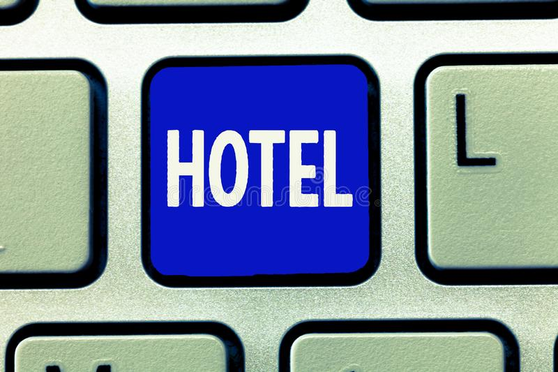 Writing note showing Hotel. Business photo showcasing establishment providing accommodation meals services for. Travellers stock image