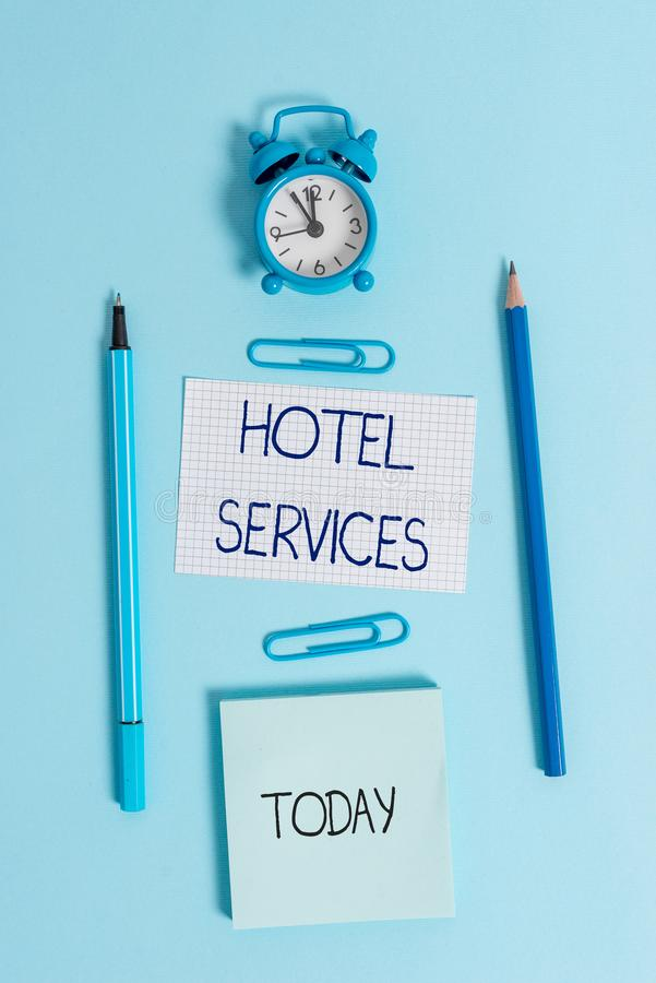 Writing note showing Hotel Services. Business photo showcasing Facilities Amenities of an accommodation and lodging. Writing note showing Hotel Services royalty free stock photography