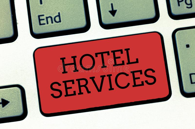 Writing note showing Hotel Services. Business photo showcasing Facilities Amenities of an accommodation and lodging house.  stock image