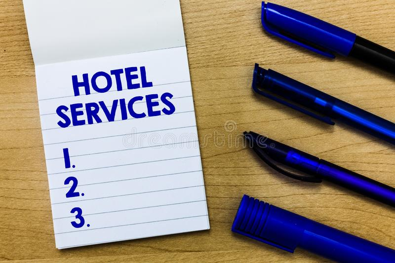Writing note showing Hotel Services. Business photo showcasing Facilities Amenities of an accommodation and lodging house.  stock photography