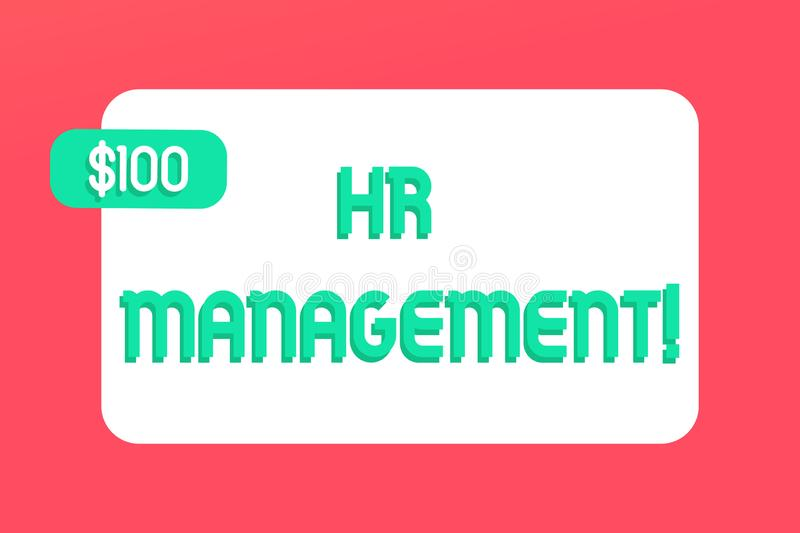 Writing note showing Hr Management. Business photo showcasing strategic approach to the effective analysisagement of. Writing note showing Hr Management vector illustration