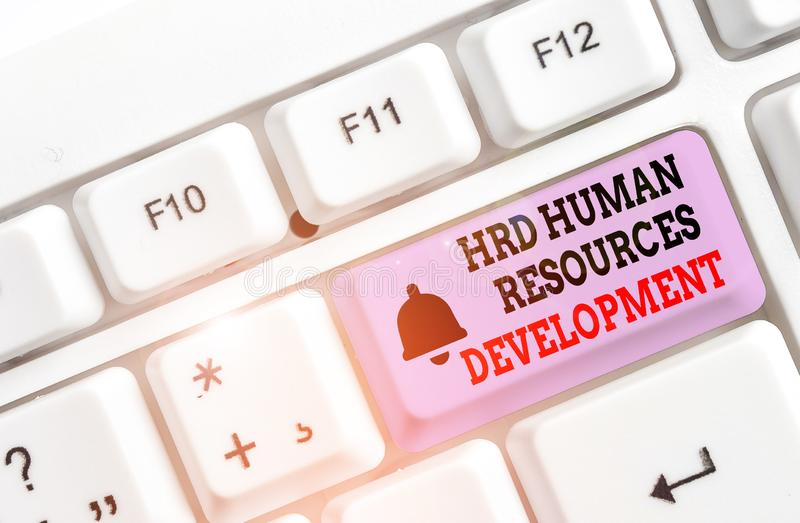 Writing note showing Hrd Huanalysis Resources Development. Business photo showcasing helping employees develop. Writing note showing Hrd Huanalysis Resources stock photography