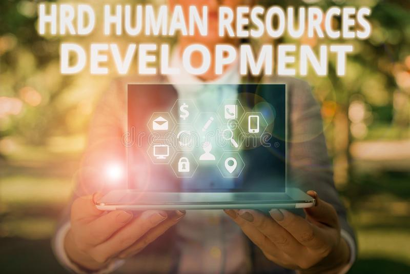 Writing note showing Hrd Huanalysis Resources Development. Business photo showcasing helping employees develop. Writing note showing Hrd Huanalysis Resources royalty free stock image