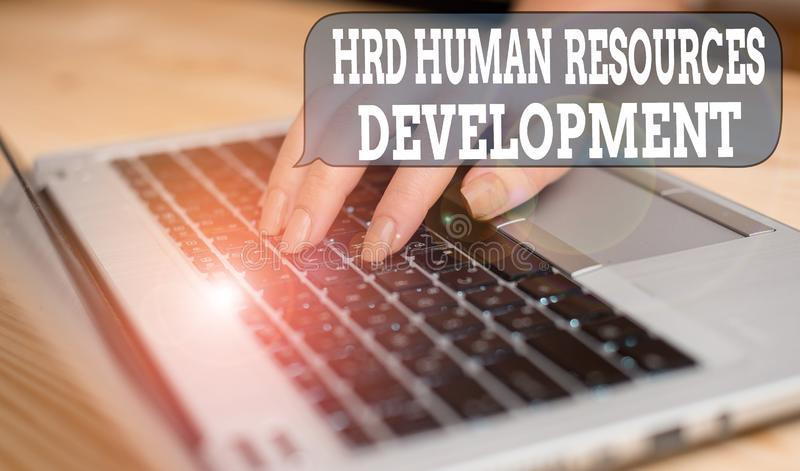 Writing note showing Hrd Huanalysis Resources Development. Business photo showcasing helping employees develop. Writing note showing Hrd Huanalysis Resources royalty free stock photography